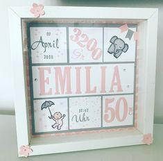 Ribbar frame for birth # baby # birth # ribba # stampinup # diy present Baby Room Boy, Baby Room Decor, Nursery Decor, Birth Gift, Baby Birth, Stampin Up, Baby Scrapbook, Scrapbook Paper, Baby Frame