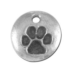 12mm Silver Round Paw Print Pewter Charm - Great accent piece for Metal Stamping.