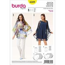 Burda Style Pattern 6589 Dress and Top Simply perfect is the look of this sleeveless shirt dress or hip length top, with a light cover of circular fabric detailed with a small slit in back. Burda Sewing Patterns, Clothing Patterns, Dress Patterns, Maternity Patterns, Miss Dress, Sheer Fabrics, Top Pattern, Sewing Clothes, Simple Dresses