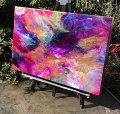 """""""Memories of Summer"""", resin painting on handmade cradled wooden panel, by Beth Desrosiers, Resin Reflections. resinreflections.com"""