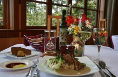 A romantic getaway to the Stanford Inn by the Sea in Mendocino, CA, featuring award winning vegan cuisine at Ravens Restaurant. This eco inn also offers canoeing and biking.