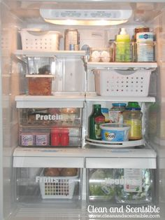 Lots of tips on how to clean and organize your fridge and freezer!  // via Clean and Scentsible