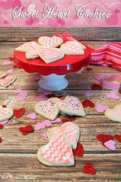 Sweet Heart Cookies|2CookinMamas - Decorate these perfect sugar cookie hearts to show your love.: