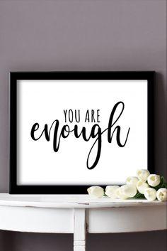 You Are Enough Printable Wall Art Teen Wall Decor, Home Wall Decor, Home Office Decor, You Are Enough, Affordable Home Decor, Minimalist Decor, White Art, Printable Wall Art, Gift Guide