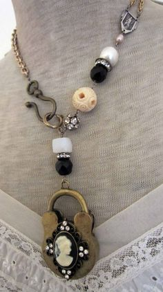 golden lock - assemblage necklace with cameo lock pendant by the french circus