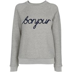 Whistles Bonjour Sweatshirt, Grey (935 NOK) ❤ liked on Polyvore featuring tops, hoodies, sweatshirts, gray top, sports tops, grey sweatshirt, long sleeve cotton tops and cotton sweatshirt