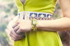 Perfect gift for soutache lovers. Romantic Fabric Wristband / Trendy bracelet made in soutache embroidery technique, inspired by Slovak folklore. Bracelet is made by using the following materials: soutache lace, Swarovski Crystals, Toho and Miyuky seed and Czech Preciosa and Swarovski beads, metal components – a unique product by Zuzana_Barcakova via en.DaWanda.com