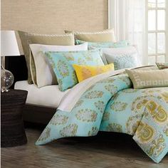 "Cotton sateen duvet cover set with a paisley motif.   Product: Twin: 1 Duvet cover and 1 standard shamFull/Queen: 1 Duvet cover and 2 standard shamsKing: 1 Duvet cover and 2 king shamsConstruction Material: Cotton sateenColor: Teal, white and dusty yellowFeatures: 300 Thread countDimensions: Standard Sham: 20"" x 26"" eachKing Sham: 20"" x 36"" eachTwin Duvet: 72"" x 90""Full/Queen Duvet: 92"" x 96""King Duvet: 110"" x 96""Note: Shams do not include inserts. Euro shams and accents pillows are not…"