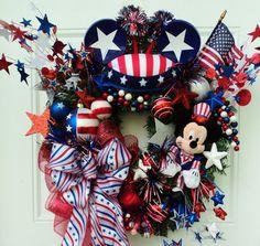 Mickey Mouse Patriotic Wreath Veteran's Day Wreath Memorial Day Wreath