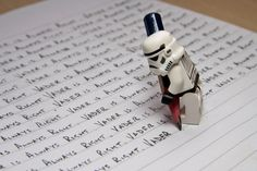Stormtrooper: Vader is always right.) Stormtrooper Steve had disobeyed a direct order and instead of the usual punishment of death, Lord Vader had instructed him to right out the saying Lego Star Wars, Simbolos Star Wars, Amour Star Wars, Star Wars Stormtrooper, Darth Vader, Star Wars Party, Star Wars Humor, Star Wars Love, Legos