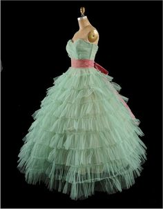 1950s tiered tulle prom dress, great inspiration in this dress for a child's formal