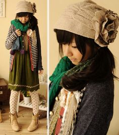Adorable mori kei coordinates with pops of color instead of an all-neutral palette, as is customary in mori kei.  I love it!