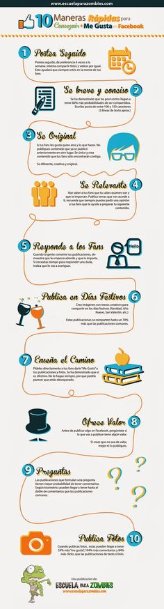 "#Infografia #CommunityManager 10 maneras de conseguir más ""Likes"" en Facebook. #TAVnews"