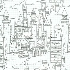 Magic Castle Plans in White by Sarah Jane for Michael Miller Fabrics Tissu Michael Miller, Michael Miller Fabric, Jane And Michael, Fabric Factory, Ghost Cat, Fairytale Castle, White Magic, Fabulous Fabrics, Modern Fabric
