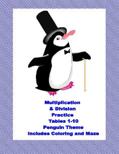 TeacherLingo.com $1.20 - This 40 page package contains a series of Penguin themed math worksheets providing practice for division and the multiplication tables 1-10. There are practice sheets and activities such as coloring and mazes included. They can be put together to form a pa