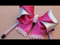 ❣Laço Tathy🎀🎀 By TATHY LIMA - YouTube Ribbon Art, Ribbon Hair Bows, Ribbon Crafts, Kids Hair Bows, Girls Bows, Tatting Jewelry, Bead Jewellery, Felt Headband, Baby Headbands