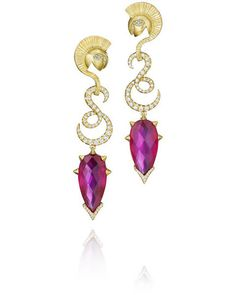 Madstone MYTHOLOGY ONE OF A KIND ARES EARRINGS $15,500.00 Ares Earrings 19.75 Carat Rhodolite and .79 Carat Diamonds in 18K Yellow Gold.