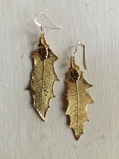 24K Gold Plated Pointed Oak Real Leaf by MayaGriggsJewelry on Etsy