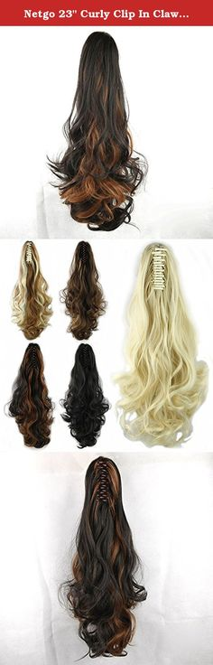"""Netgo 23"""" Curly Clip In Claw Ponytail Hair Extensions Synthetic Hairpiece with a jaw/claw clip. Material: Synthetic Hair Bun Extension Donut Chignon Hairpiece Wig The Product are made from 100% Korean High Quality Syntheitc Heat-Resistant Fiber, which makes it looks and fells like Real Human Hair. Because it is designed to be easy and comfortable to use, you can easily wear it without any extra help. This product is washable and can be permed. Clip in hair extensions care instruction: (1)..."""