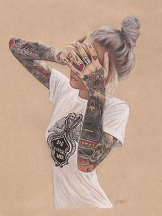 Color pencil drawings: Jenifer De Boer is a graphic designer and artist. Her color pencil drawings are mostly of women and they are so realistic. Pencil Drawing Tutorials, Pencil Drawings, Art Drawings, Drawing Tips, Drawing Ideas, Tattoo Drawings, Tattoo Girls, Girl Tattoos, Istanbul Tattoo