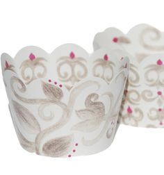 Winter Wonderland Wedding Cupcake Wrappers, White, Silver Gray, and Plum Purple Damask Pattern, 36 Reversible Wraps, Confetti Couture Party Supplies * Quickly view this special  product, click the image : Bakeware