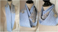 Men and/or Women Knit Infinity Scarf  Mobius Circle  Blue by ohmay, $59.00
