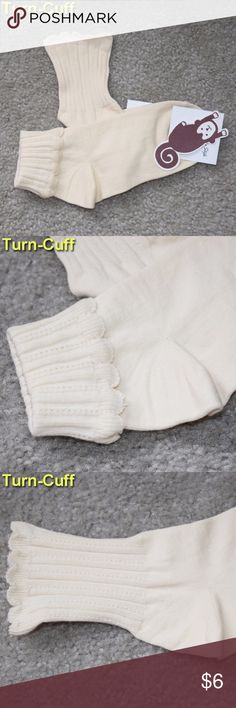 NWT Turn Cuff Women'ts Socks Cream White New with tag  ONE SIZE FITS MOST (5-9 women)   Turn Cuff Style  Cream Color Accessories Hosiery & Socks