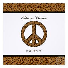 Leopard Print Peace Sign Birthday Party Invitation