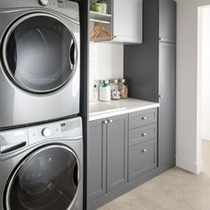 laundry room design, white laundry room with laundry room storage, laundry room organization with neutral floor tile, neutral mudroom design with laundry and folding counter and laundry sink Modern Laundry Rooms, Laundry Room Layouts, Laundry Room Remodel, Farmhouse Laundry Room, Laundry Room Organization, Basement Laundry, Laundry Closet, Laundry Room With Storage, Utility Room Storage