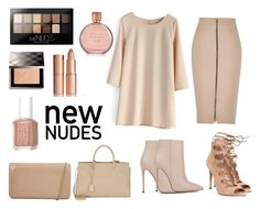 """""""Go Nude: #OnTrend"""" by monicahayde ❤ liked on Polyvore featuring Maybelline, Burberry, Akira Black Label, River Island, Office, Essie, Hobbs, Charlotte Tilbury, Estée Lauder and Yves Saint Laurent"""