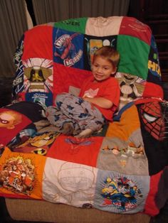 Superhero T-Shirt Quilt - I really really want to make this some day. Would be so easy  cheap to collect superhero t-shirts from garage sales, thrift shops, ect... Great gift for any superhero fan (young or old)!