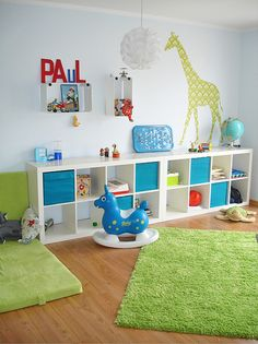 love the shelving idea with graphic on top, for the bonus room