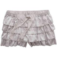 Aerie Satin Ruffle Short ($12) ❤ liked on Polyvore featuring shorts, pajamas, silver, ruffle trim shorts, drawstring shorts, short shorts, satin shorts and flounce shorts