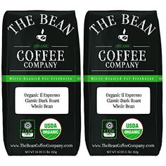 The Bean Coffee Company Organic Il Espresso, Classic Dark Roast, Whole Bean, 16-Ounce Bags (Pack of 2)