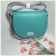 """❥❥KATE SPADE OLIVER STREET CROSSBODY BAG❥❥ 100% authentic Kate Spade new York """"LILLY"""" Oliver Street GRCBLU/FSH (371) WKRU3782 Saddle Bag.  Will come with Kate Spade Booklet, Attached Tag. Cross body style, 2 tone, gold hardware.  aprox 8"""" across, 7.25 down, sides 2.5"""" at widest.  magnetic snap closure, adjustable shoulder strap, inside zipper compartment, 2 sectioned areas. """"Kate Spade Lilly Oliver St Saddle Bag So trendy and super soft leather! 2-tone. Gold hardware. Cross body. Secret…"""