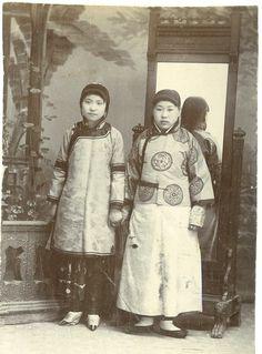 Chinese Girls Vintage print, China Tirage citrate 9x12 Circa 1890
