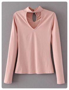 Long Sleeve Choker Tee (Pink)