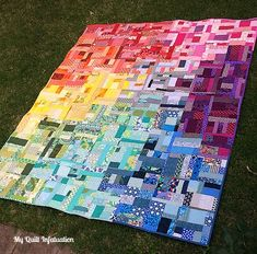 My Quilt Infatuation: Rainbow Scrap Love 3d Quilts, Sampler Quilts, Scrappy Quilts, Baby Quilts, Quilting Projects, Quilting Designs, Quilting Ideas, Sewing Projects, Crazy Patchwork