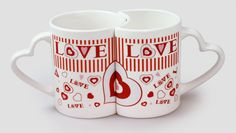Valentines Mugs, Valentine Gifts, Heart Shapes, Coffee Mugs, Porcelain, Ceramics, Tableware, Day, Hall Pottery