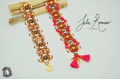 by Julie Romero Super Duo, Bead Jewelry, Ios, Beading, Candy, Bracelets, Beaded Jewelry, Sweet, Bangles