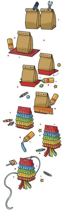 Piñata de papel, instrucciones paso a paso - Paper Bag Piñata (instructions from…