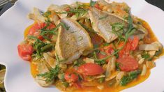 Artichokes, Beans and Early Girl Tomato Ragout with Snapper Fish Recipes, Seafood Recipes, Early Girl Tomato, James Martin, Artichokes, Fish Dishes, Fish And Seafood, Thai Red Curry, Beans