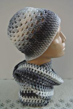 ŠEDOBÍLÝ SET-ČEPICE A NÁKRČNÍK háčkované z dovozové příze,nákrčník-obvod-120 cm,výška-18 cm,čepice obvod-52-54 cm Knitted Hats, Crochet Hats, Beanie, Knitting, Art, Fashion, Knitting Hats, Art Background, Moda
