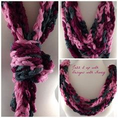 Ladies pink gray burgundy fashion scarf infinity loop with finger crochet can be worn in many different styles red heart sashay yarn