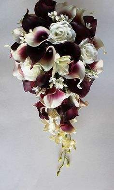 Cascade Wedding Calla Lily Bouquet Cramberry by MGFloralDesign