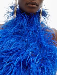 Ostrich feather-embellished mini dress | The Attico | MATCHESFASHION.COM Feather Fashion, Blue Fashion, Fashion Beauty, Feather Photography, Fashion Photography, 1980s Glamour, Fashion Shoot, Fashion 2020, Pageant Headshots