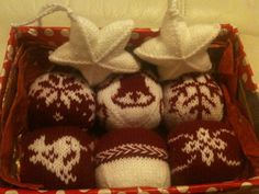 Knitted christmas baubles tree decorations