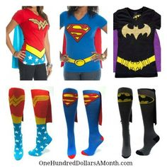 Forget about Halloween. Being a real superhero is a 24/7 job. So for all you Super Moms and Super Teenagers out there, here are some back up socks and t-shirts {with capes!} I found on Amazon for you in case you are running low. Adult Knee High Cape...