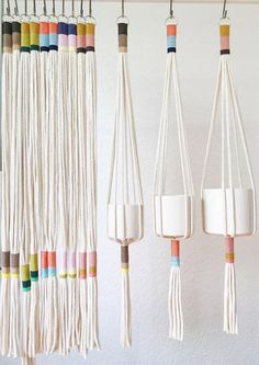 Our Slim Color-Block plant hanger is perfect to add a modern touch to any room in your home, office or creative space.This plant hanger seamless design can accommodate plant holders measuring anywhere from a to in diameter.This Slim Color-Block Plant Hang Macrame Projects, Craft Projects, Project Ideas, Arts And Crafts, Diy Crafts, Plant Crafts, Creative Crafts, Sewing Crafts, Ideias Diy