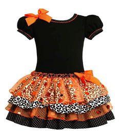 Bonnie Jean Black Orange Sparkle Ruffle Girls Halloween Dress (sz.12m-6x) #halloween